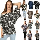 Womens Ladies Floral Print Off Shoulder Batwing Bardot Side Ruched Top Plus Size