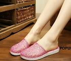 Hot Womens Close Toe Casual Slippers Sequins Mules Crystal Jelly Bathroom Shoes