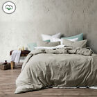 3 Pce Washed Cotton Quilt Doon Duvet Cover Set LATTE by Accessorize - QUEEN KING