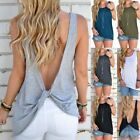 Women Sexy Sleeveless Open Back Shirt Knotted Tank Top Blouse Sport T-shirt Vest