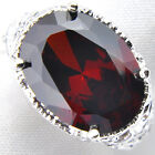 3 Stones Angel's Wing Fire Red Garnet Vintage Silver Woman Ring Size 7 8 9 New