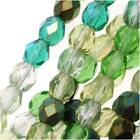 Czech Fire Polished Glass Beads 4mm Round 'Ever Green Mix' (100 Pieces)