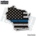 Wisconsin State Thin Blue Line Decal WI Tattered American Flag Gloss Sticker HGV