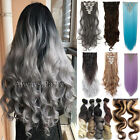 Ombre/Dip Dye 8 Pieces Clip In Full Head Hair Extensions Long Straight Curly H2n