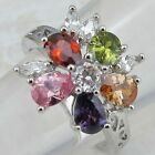Size6 7 8 9 Great Multi-Color Flower CZ Jewelry Gold Filled Woman Gift Ring K851