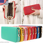US Womens Girls Chic Soft Leather Bowknot Clutch Wallet Long Card Purse Handbag