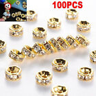100pcs Silver Gold Crystal Rhinestone Rondelle Spacer Beads DIY 6mm 8mm New LAUS