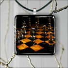 CHESS GAME SQUARE PENDANTS NECKLACE MEDIUM OR LARGE -bhj6X
