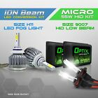 9007 55w HID Low Beam Headlight Xenon Conversion Kit + H11 6000K LED White Fog