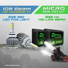 H4 55w HID Hi/Low Beam Headlight Xenon Conversion Kit + 880 6000K LED White Fog