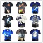Men Boy Summer Casual 3D Graphic Printed Wolf Short Sleeve Cotton T-Shirt