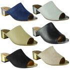 New Womens Ladies Low Block Heel Shoes Slip On Peeptoe Mules Sandals Size