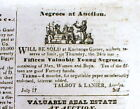 1845 Lynchburg Virginia newspaper ILLUSTRATED AD Sale of NEGRO SLAVES at AUCTION