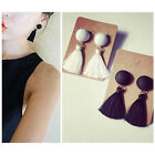 Elegant Korean Style Earrings Tassel Drop Dangling Black/White Simple Earrings