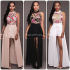NEW Embroidery Floral Summer Women High Slit Jumpsuit Romper Long Dress Clubwear