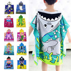 Kids Cartoon Waterproof Hooded Poncho Swim Cotton + Polyester Bath Towel Wear
