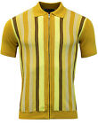 NEW MADCAP ENGLAND MOD RETRO 60s 70s MENS CAPITAL ZIP THROUGH POLO GOLD MC333