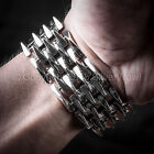 Mens Heavy SPIKE Bracelet. Unique, Unusual Wide Design - 925 Sterling Silver