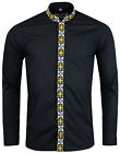 NEW MADCAP RETRO MOD 60s AVORY MANDARIN COLLAR SHIRT: BLACK MC299