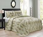 KAMA 3PC Luxury Embroidery Bamboo Forest Reversible Quilted Bedspread Set image
