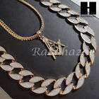"""14k Gold PT MASONIC FREEMASON 15mm Miami Cuban 30"""" Iced Out Chain Necklace S132"""