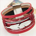Alloy Feather Wide Multilayer Rhinestone Leather Bracelet Bangles for Women Men