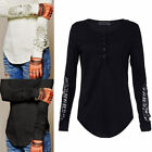 2017 New Womens Slim Blouse Lace Long Sleeve Casual Shirt Loose Cotton T Shirt
