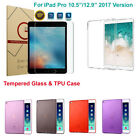 """2017 Apple iPad Pro Tablet 10.5""""/12.9"""" TPU Silicone Case Cover Tempered Glass"""