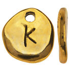 Gold Plated Lead-Free Pewter, Pebble Alphabet Charms Letter 'K' 9x10mm, 10 Pcs