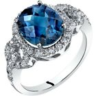Oravo 14K White Gold London Blue Topaz Ring Oval Checkerboard 3.00 Carats 5-9