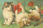 Cats Playing With Poppies Fabric Crazy Quilt Block Multi Sizes C6 Free Shipping