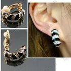 CLIP ON crystal SILVER/GOLD PLTD black enamel HUGGIE EARRINGS curved half hoops