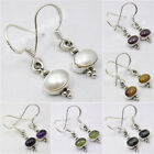 925 Solid Silver LABRADORITE, AMETHYST  & Other Gemstones Variation ART Earrings