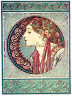 Mucha Lady Cotton Fabric Crazy Quilt Block Multi Sizes M9 Free Shipping