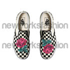 Red Rose Vans Classic Slip On Checkerboard Black White Custom Men Women & Kids