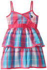 US Polo Assn Girls Plaid Tier Ruffled Sun Dress Size 4 5 6 6X $40