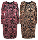 Ladies Floral Midi Dress New Womens Curve Body Con Plus Size Dres UK 14 - 28