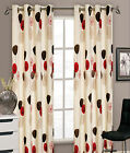 Faux Silk Ringtop Eyelet Ready Made Red Cream Dandelion Fully Lined Curtain Pair
