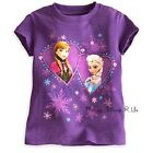 NEW Disney Store Frozen Elsa And Anna Hearts Tee T-Shirt Top 5/6-10/12 Purple