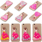 for iPhone 5 S 6 7 Plus 3D Cute Girl Glitter Liquid Flowing Soft TPU Case Cover