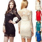 Fashion Ladies Lace Bodycon Long Sleeve Summer Cocktail Evening Party Mini Dress