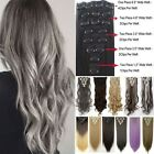 """Deluxe New 17""""23""""24""""26"""" 8 Piece Clip in Hair Extensions Full Head Human Tape Tn2"""