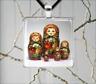 RUSSIAN NESTING DOLLS #2 SQUARE PENDANT NECKLACE -ims5X