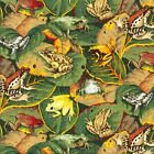 FROGS on leaves : 100% cotton fabric : by the 1/2 metre