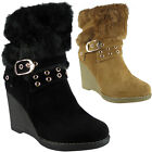 Womens Ladies Fur Lining Mid Calf Buckle High Wedge Heel Ankle Boots Shoes Size
