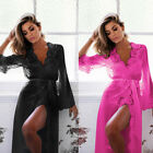 Women's-Long-Sleeve-Lace-Dress-Sexy-Lingerie-Robe-Sheer-With-G-String-Night-Set