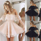 UK Women Formal Lace Short Dress Prom Evening Party Cocktail Bridesmaid Wedding