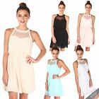 Womens Ladies Mesh Neck Pleated Flared Chiffon Skater Tunic Dress Beach Party
