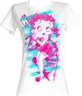 1Betty Boop 1930's Cartoon Colorful Sketch Womans Fitted T Shirt $18.63 USD