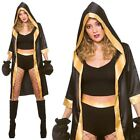 Adult Knockout Boxer Costume & Gloves Fancy Dress Sports Ladies Fighter Champion